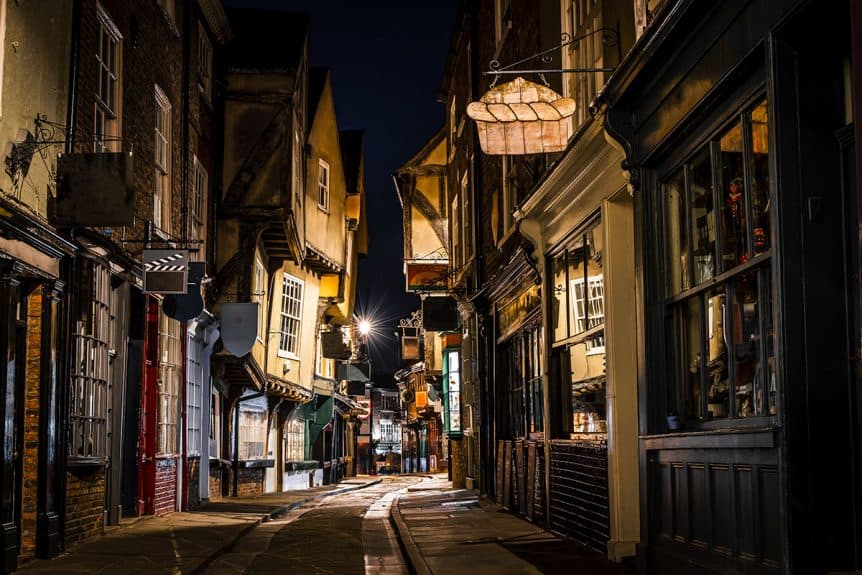 The Shambles in York England at night