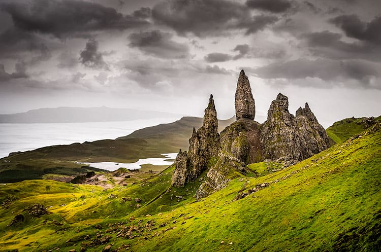 The Storr - a hill in Scotland on a cloudy day