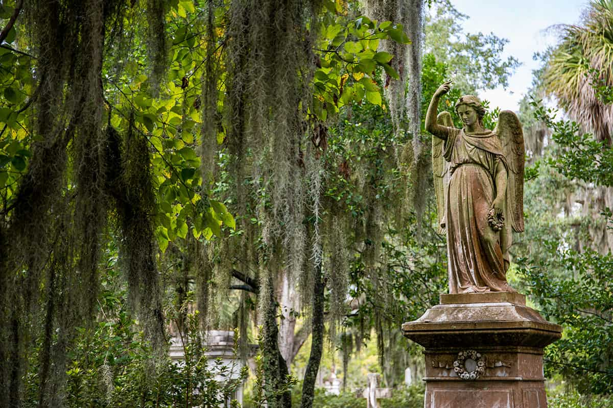 Bonaventure Cemetery in Savannah - statue of a woman in a cemetery is one of the best ghost tours in Savannah